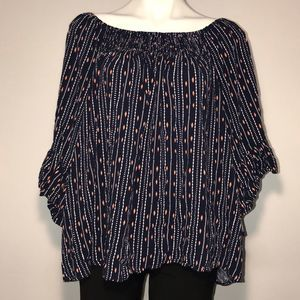 Cameo Appearance off the shoulder blue pattern top